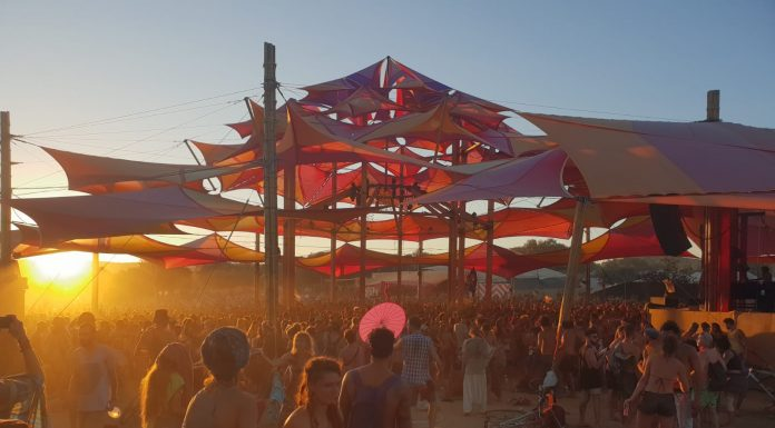 Sun is setting on Alchemy Circle at Boom festival