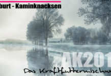 Winter landscape with leafless trees next to a pond. Text says Filburt Kaminknacksen
