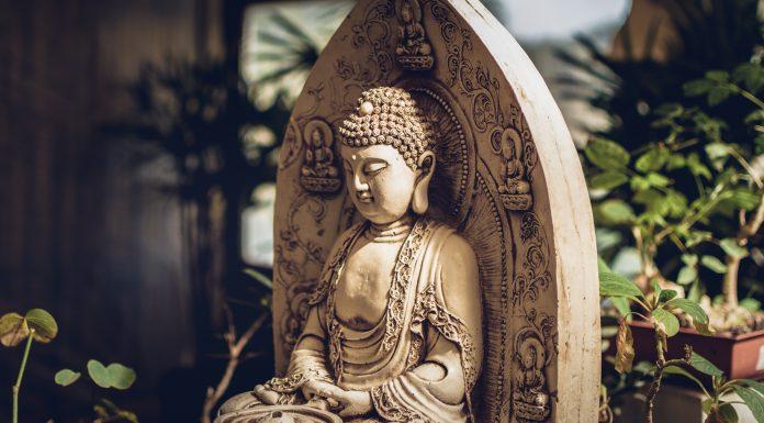 Meditateing Buddha stutue in garden