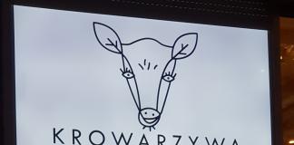 Exterior sign of the vegan restaurant Krowarzywa