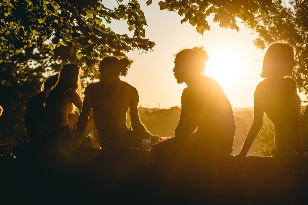 People sitting and enjoying the sunlight