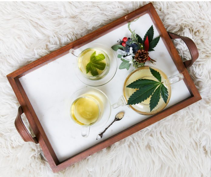 Tray with CBD served and ready for consumpsion