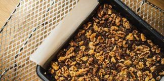 Freshly baked owen plate with vegan brownies