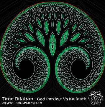 Track art for Time Dilation by God Particle and Kalinath. A cartonish double fractal spiral.