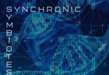 Track art for the track Synchronic Symbiotes by God Particle on the label WF420 Schwarzwald, depicting a fluorescent DNA double helix