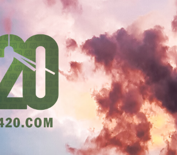 waiitng for 420 dot com logo on a blue sunny sky with a partially clouded sun