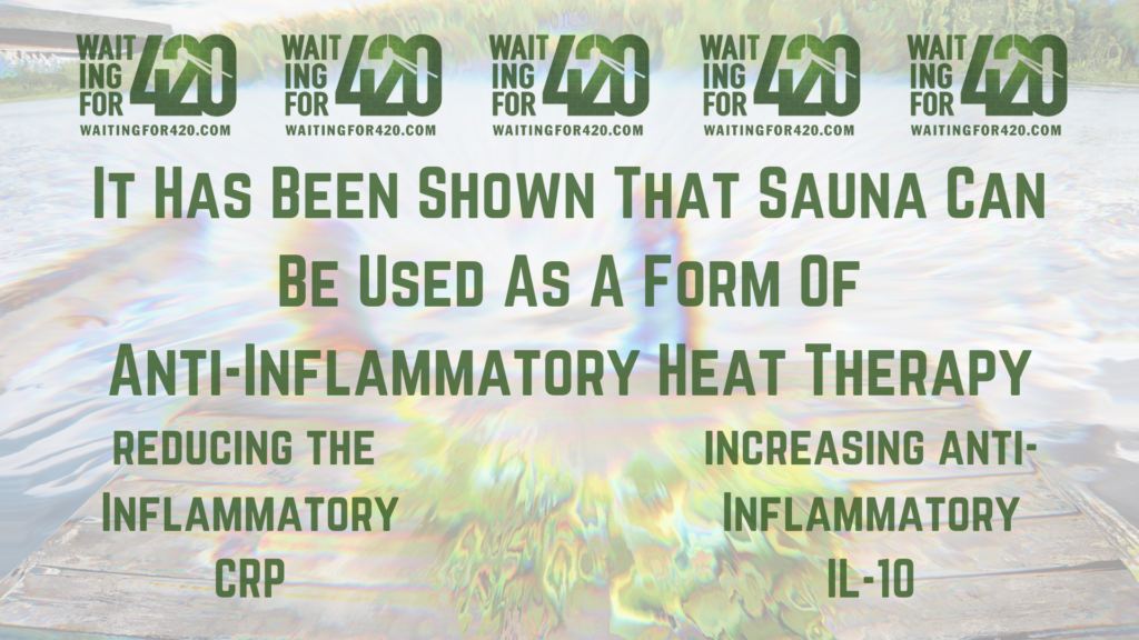 Infographic saying: It Has Been Shown That Sauna Can Be Used As A Form Of Anti-Inflammatory Heat Therapy. reducing the  Inflammatory CRP.  increasing anti-Inflammatory IL-10.