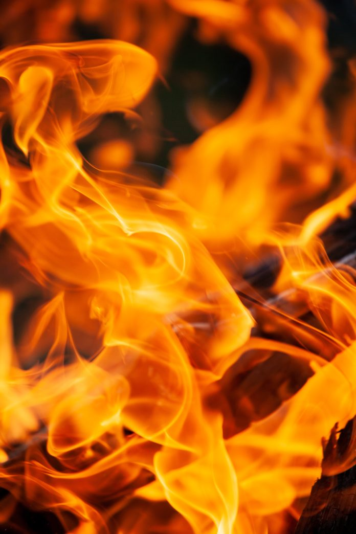 close-up of flame of a fire