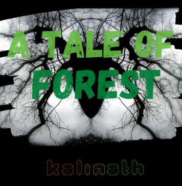 a background of a rorschach pattern made up of branches that create a goathead and in the foreground the text a tale of forest Kalinath