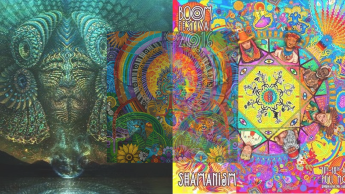 Decorative picure consiting of 3 overlapping pictures, one of each from Boom festival, Cosmic Convergence and KaLs Ometeotl's soundcloud profile.